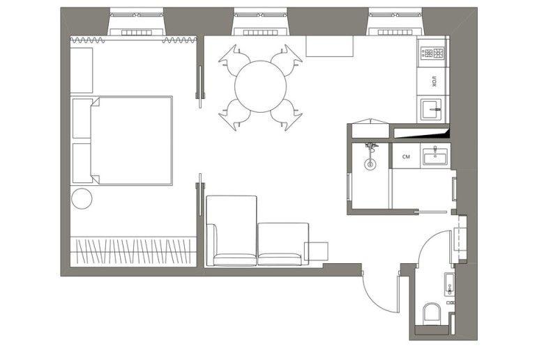 Проект однокомнтаной квартиры 39 метров
