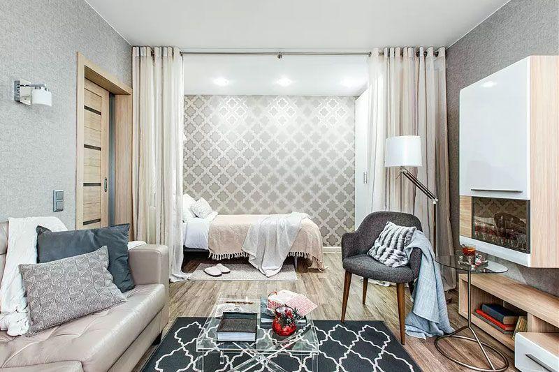 Современный интерьер однокомнатной квартиры 38 метров