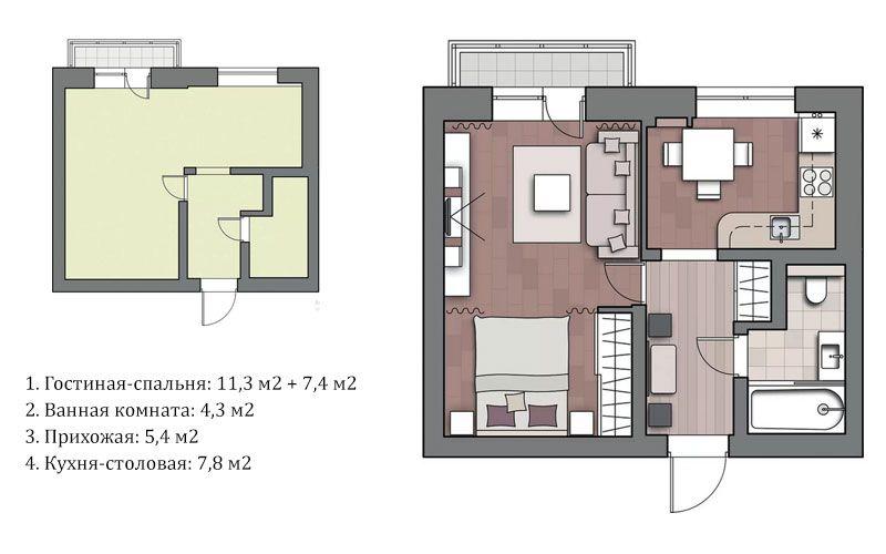 Дизайн однокомнатной квартиры 38 метров