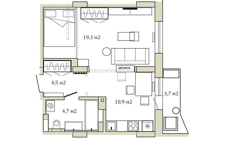 Реализованный дизайн-проект однушки 39 квадратных метров