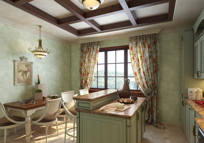 Балки на потолке в кухне прованс
