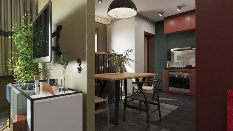 Квартира 40 метров в оливковых и гранатовых оттенках