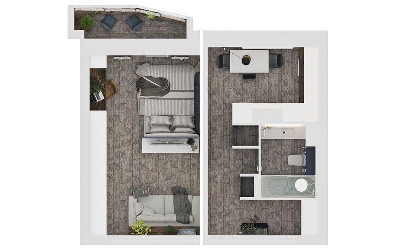 Однокомнатная квартира 38 квадратных метров со стеклянной спальней