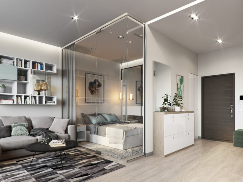 Однокомнатная квартира 40 квадратных метров со стеклянной спальней