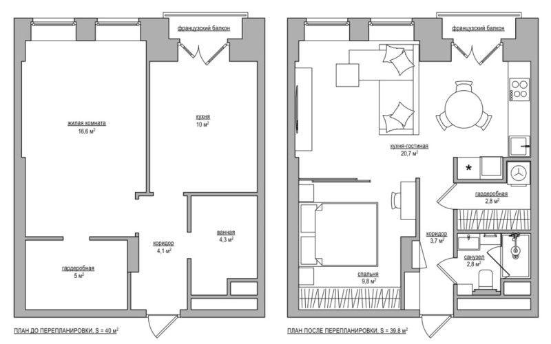 Проект однокомнатной квартиры 40 метров в старом доме