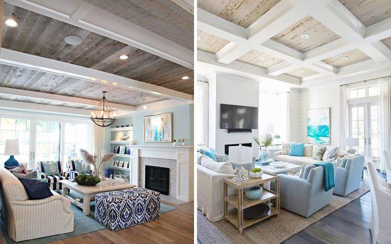 Балки на потолке в гостиной