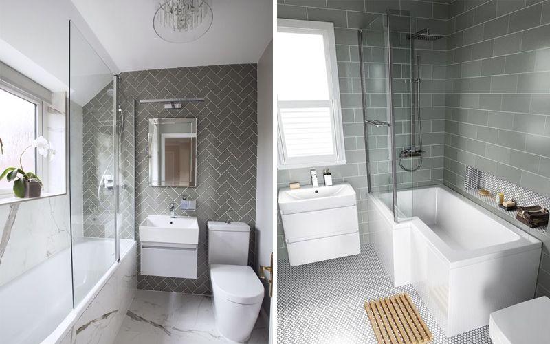 Плитка кабанчик серого цвета в ванной комнате