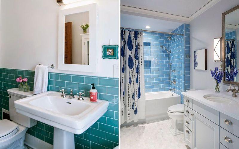 Плитка кабанчик голубого и бирюзового цвета - примеры фото