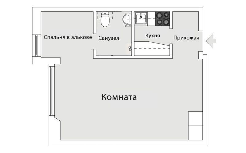 Студия 31 метр со спальней в алькове