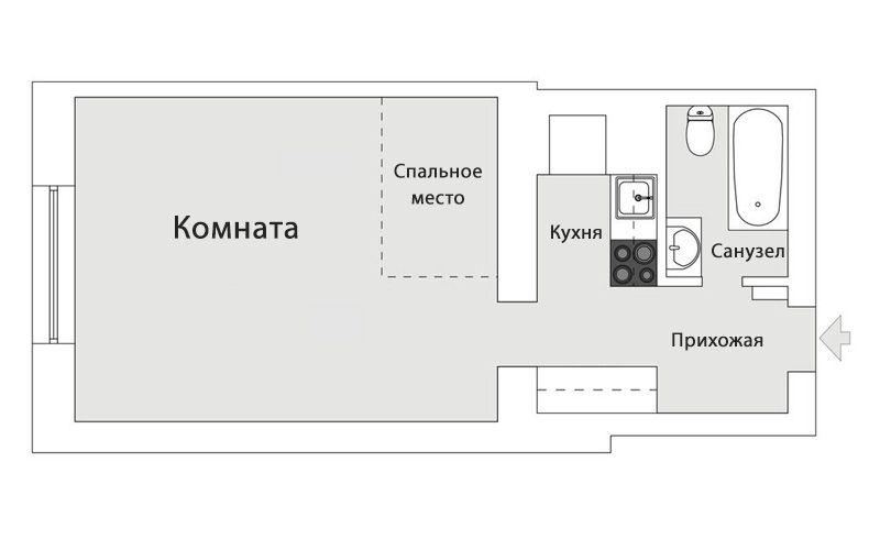 Скандинавский интерьер в студии 30 метров