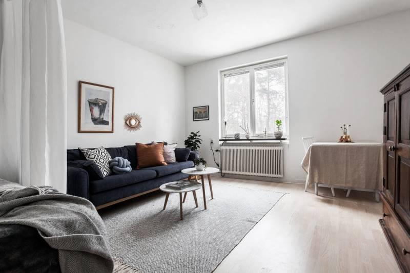Светлый интерьер в однокомнатной квартире 31 метр