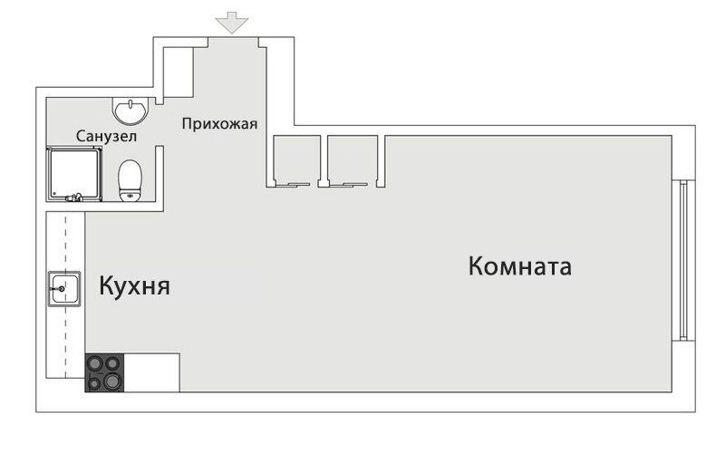 Маленькая студия площадью 32 метра в стиле минимализм
