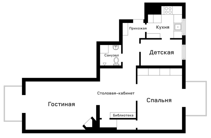 Приятный мятный интерьер в скандинавской квартире с высокими потолками