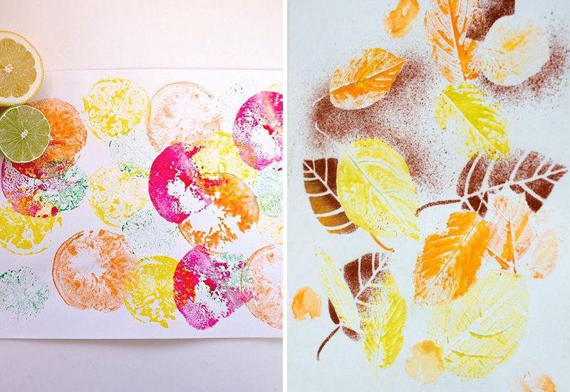 Панно из отпечатков фруктов и листьев