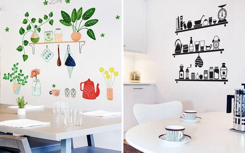 Декоративные наклейки над столом на кухне