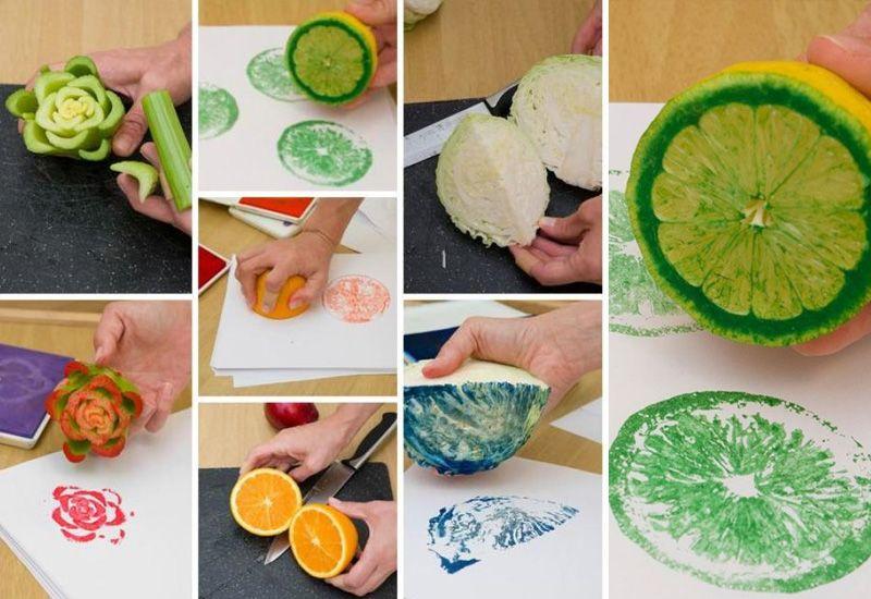 Панно из отпечатков фруктов
