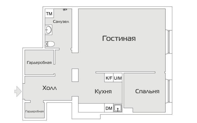 Проект дизайна двухкомнатной квартиры 46 метров - 1