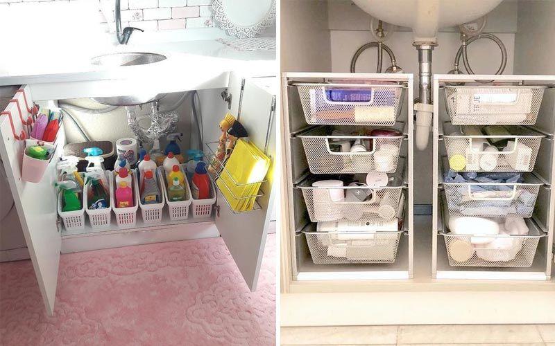 Организация хранения на кухне с фото - под мойкой