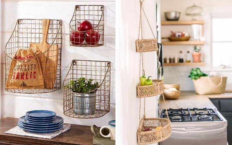 Организация хранения на кухне с фото - подвесные корзины и контейнеры