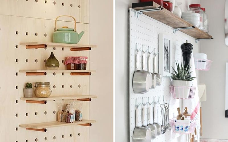 Организация хранения на кухне с фото - панель с перфорацией
