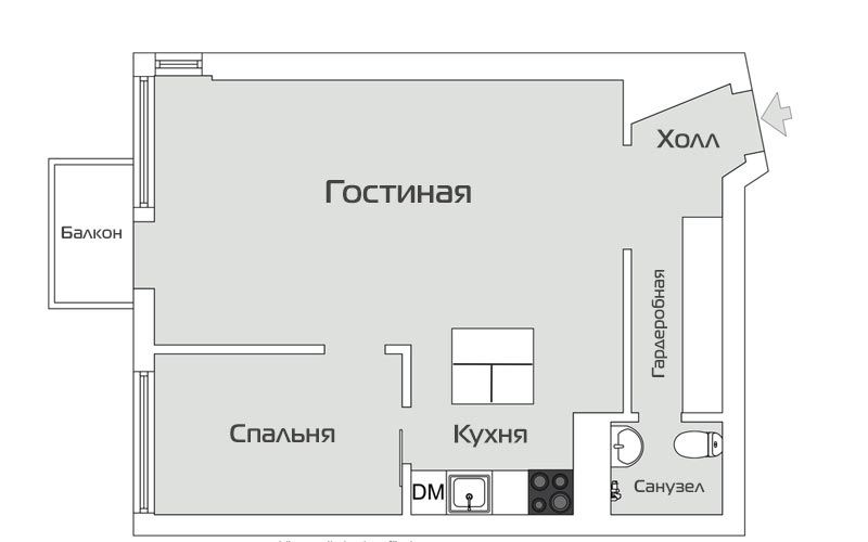 Двухкомнатная квартира 46 метров - дизайн и планировка - 00