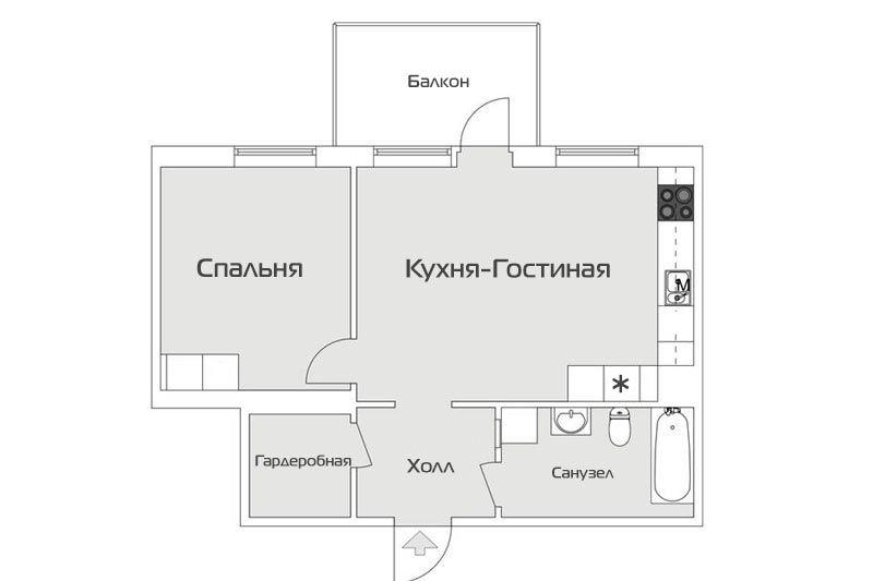 Двухкомнатная квартира в скандинавском стиле 46 метров - 1