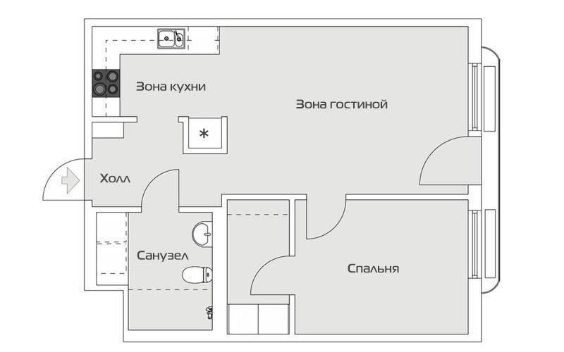 Скандинавский минимализм в двушке площадбю 46 метров - 1