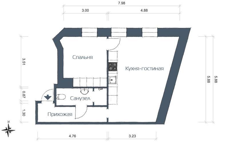 Двушка с совмещенной кухней-гостиной 46 метров - план