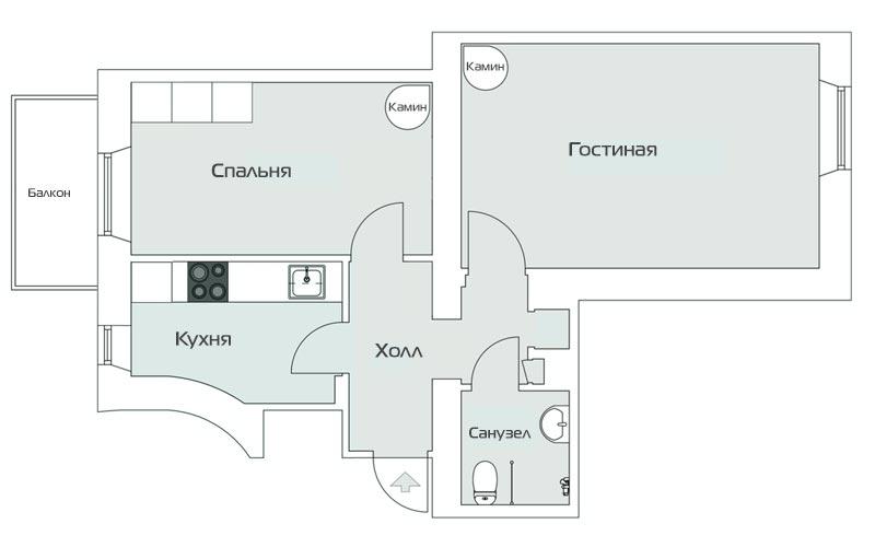 Дизайн двушки площадью 46 метров в старом доме с камином - 1