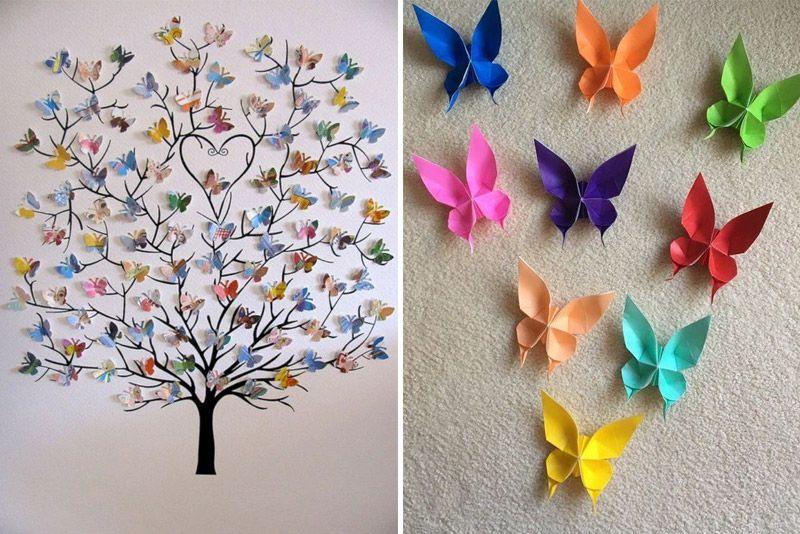Бабочки на стену: фото в интерьере