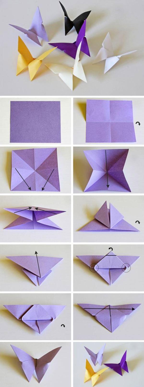 Бабочки оригами из бумаги на стену