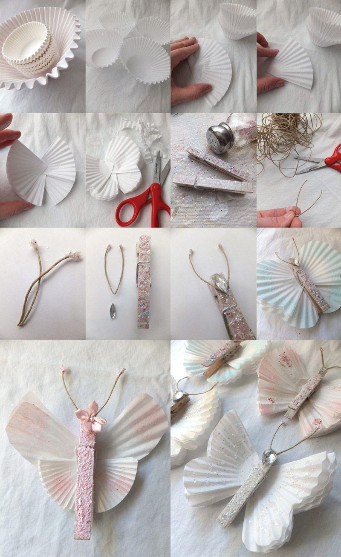 Бабочки из бумажных формочек для кексов