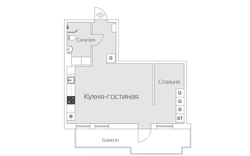 Планировка квартиры 45 метров - вариант 5