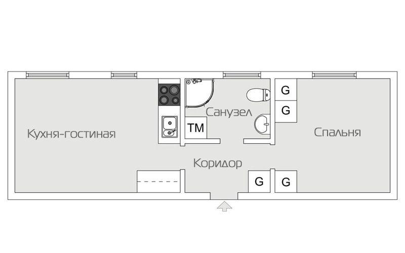 перепланировка квартиры 46 метров