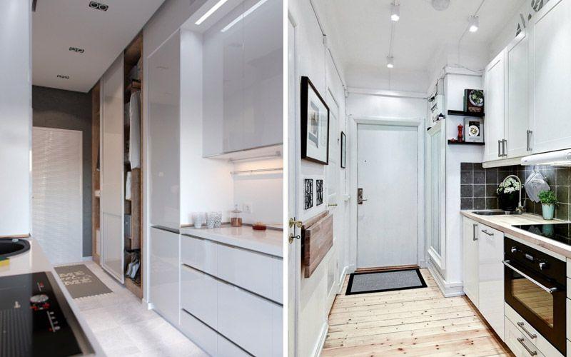 Кухня в коридоре, фото