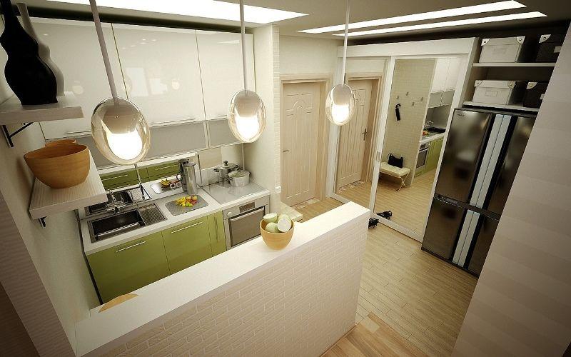 кухня в коридоре фото интерьера