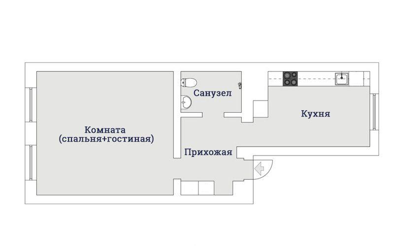 Планировка и современный дизайн однушки 44 метра