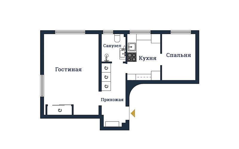 Интерьер двухкомнатной квартиры 45 метров в светлых тонах