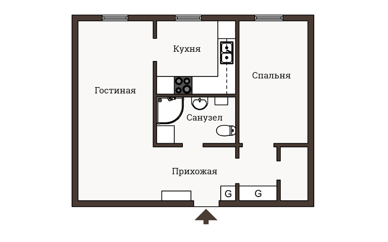 Квартира площадью 44 метра в светлых тонах
