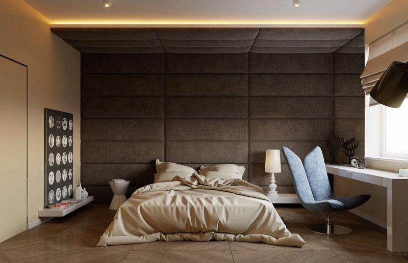 Мягкие панели в спальне
