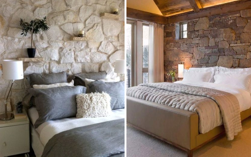 камень в спальне на стене